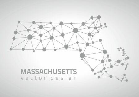 gray dot: Massachusetts vector dot gray poylgonal map