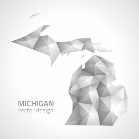 slant: Michigan gray and silver mosaic vector map