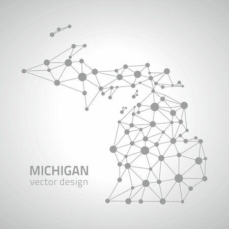 gray dot: Michigan gray vector outline perspective dot map
