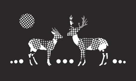summaries: christmas vector artwork with white dotted deer silhouette on a black background