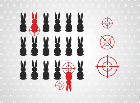 blab: Cute bunny vector illustration with targets Illustration