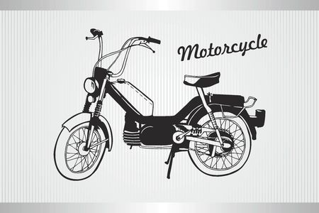 Vector Old motorcycle - Vintage vector illustration