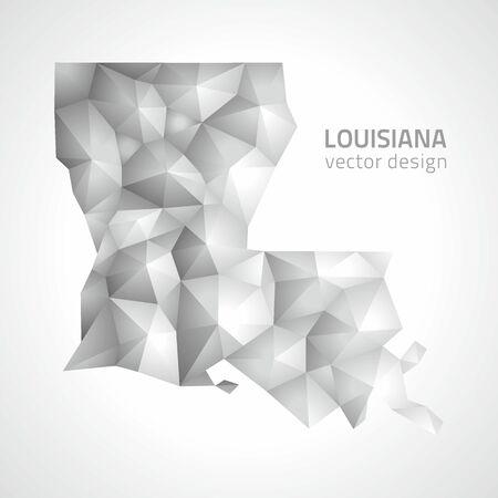 baton rouge: Louisiana vector gray and silver 3d shadow triangle mosaic map