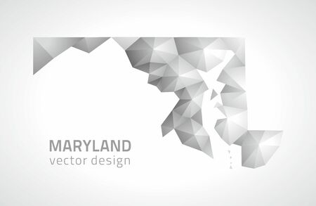 Maryland vector polygonal mosaic gray triangle perspective map Çizim