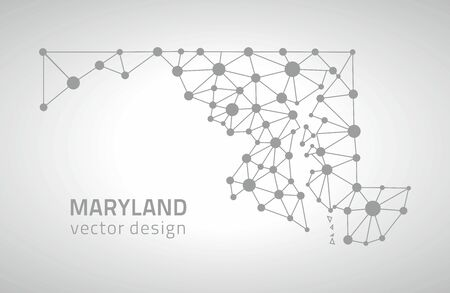 Maryland gray modern vector polygonal contour perspective triangle dot map Çizim