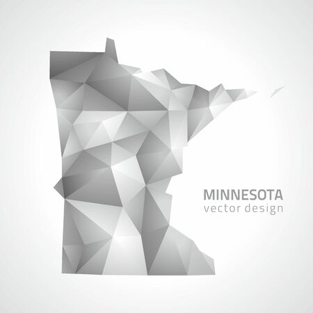 Minnesota vector polygonal mosaic gray triangle perspective map Çizim