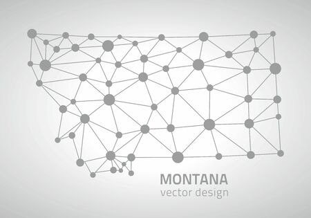 Montana mosaic vector dot gray polygonal outline maps