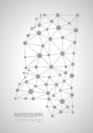 Mississippi gray modern vector polygonal contour perspective triangle dot map