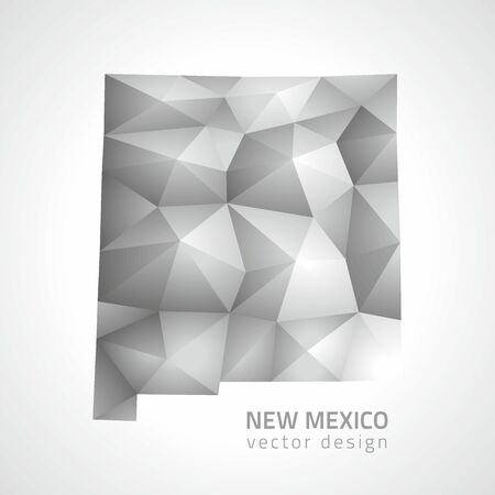 New Mexico Vector gray and silver 3d shadow triangle mosaic map
