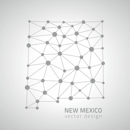 perspectiva lineal: New Mexico dot gray vector polygonal outline maps