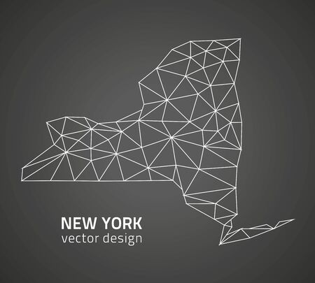 albany: New York vector black triangle polygonal outline maps