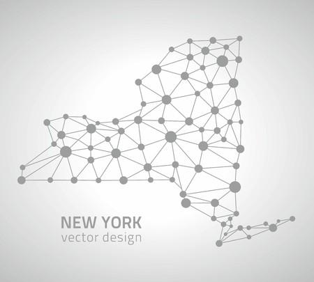 New York vector dot gray polygonal outline maps