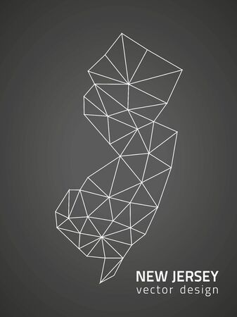 savour: New Jersey black triangle vector polygonal outline maps Illustration