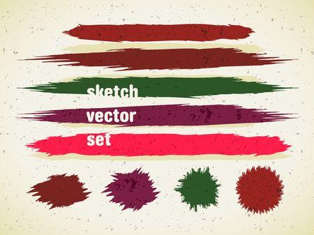 Sketch vector color set, graphic elements Illustration
