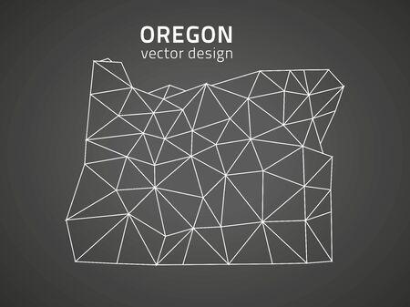 Oregon polygonal black vector map of America