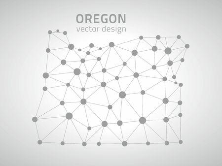 Oregon gray mosaic vector outline maps