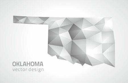 Oklahoma polygonal silver vector map