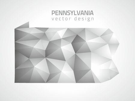 Pennsylvania polygonal vector map of America