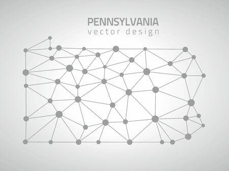 Pennsylvania gray vector outline maps