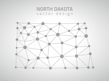North Dakota gray mosaic vector contour map of America Çizim