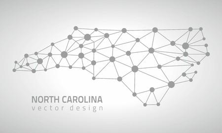 gray dot: North Carolina gray dot mosaic vector outline maps Illustration