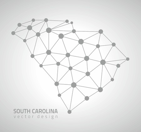 South Carolina outline vector dot triangle outline maps 일러스트