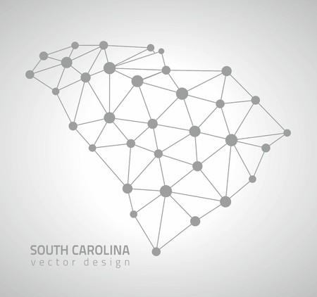 South Carolina outline vector dot triangle outline maps Illustration