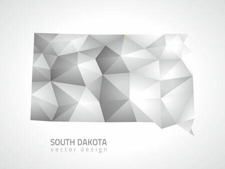 South Dakota polygonal 3d vector gray mosaic map of America Vettoriali