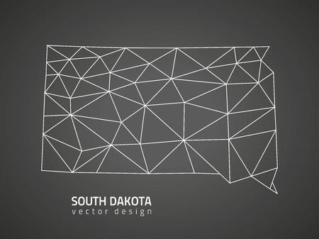 south dakota: South Dakota America gray triangle vector polygonal contour maps