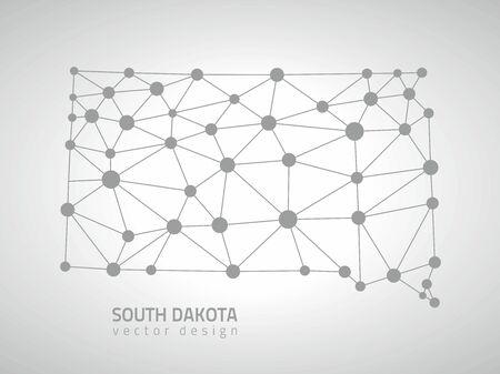 gray dot: South Dakota gray dot mosaic vector outline maps