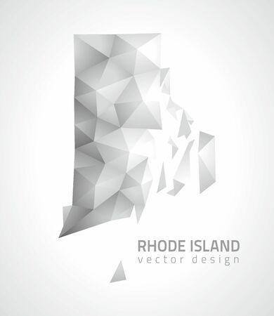 Rhode Island gray shadow vector contour map of America