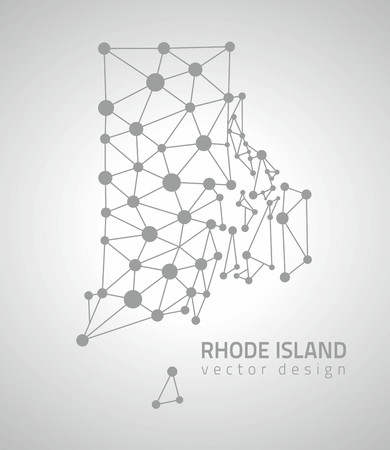 Rhode Island polygonal gray dot vector map of America Çizim