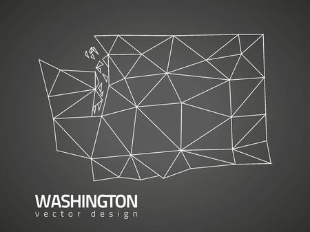 Washington black vector polygonal mosaic map Çizim