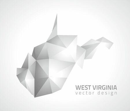 West Virginia polygonal gray vector shadow modern 3d map Vettoriali