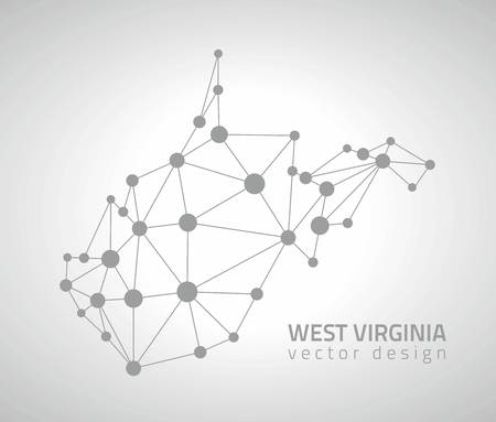 West Virginia outline gray dot triangle outline vector maps