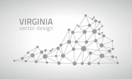 gray dot: Virginia vector contour gray dot triangle contour maps Illustration
