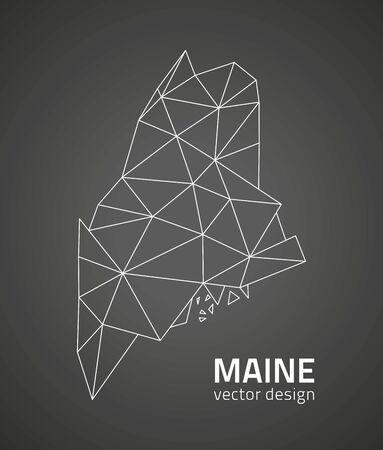 Maine black triangle vector polygonal contour maps Vettoriali