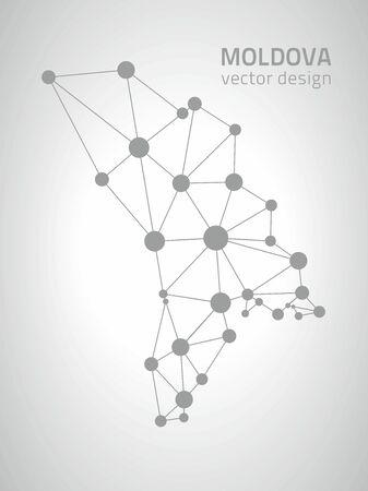 moldova: Moldova gray vector dot polygonal contour maps