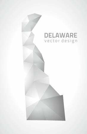 3d triangle: Delaware gray vector polygonal 3d triangle mosaic map Illustration
