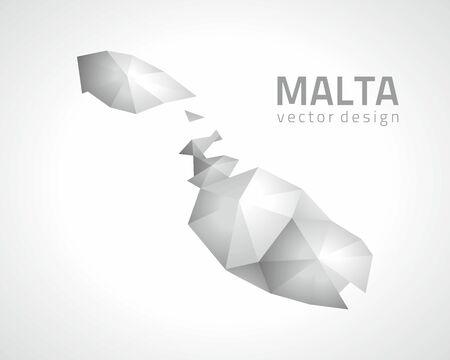 transverse: Malta gray triangle vector polygonal 3D map