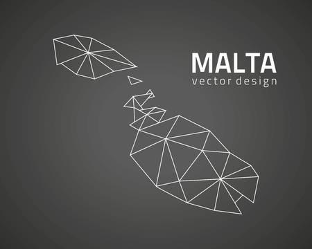 Malta vector contour black mosaic map