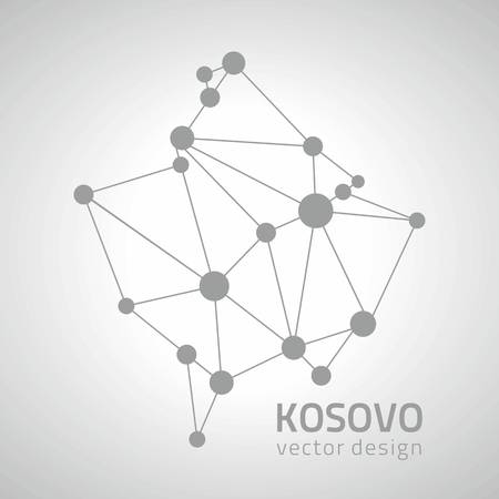savour: Kosovo gray outline design vector map Illustration