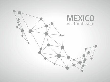 Mexico vector polygon contour gray dot map Illustration