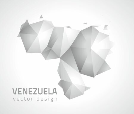 Venezuela gray vector polygonal map