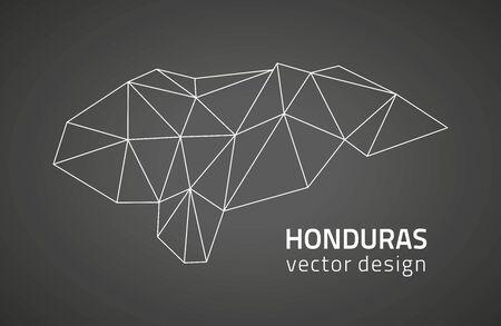 dull: Honduras black polygonal mosaic Perspectives graphic vector map Illustration