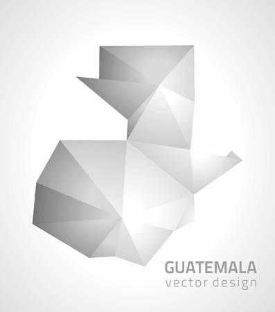 transverse: Guatemala polygonal 3d vector gray mosaic map