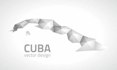 transverse: Cuba vector silver perspective polygonal map