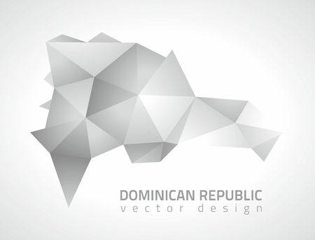 dull: Dominican republic gray mosaic vector 3d perspective modern maps Illustration