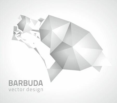 dull: Barbuda polygonal 3d silver mosaic vector maps Illustration