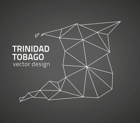 port of spain: Trinidad and Tobago black contour perspective triangle vector map